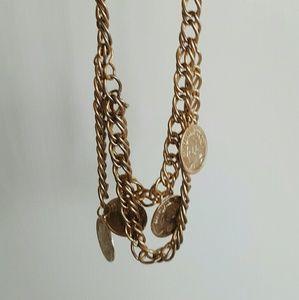 Vtg 80s Gold Medallion Chain Belt | Necklace